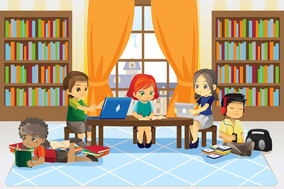 children using a library